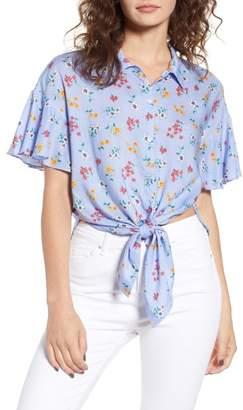 Lush Floral Tie Hem Flutter Sleeve Top