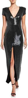 HANEY Alessia Sequined V-Neck Cap-Sleeve Front Silt Dress