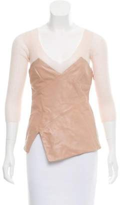 Philosophy di Alberta Ferretti Knit-Accented Leather Top