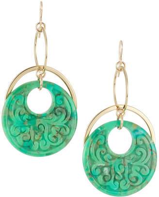 Devon Leigh Carved Green Turquoise Drop Earrings