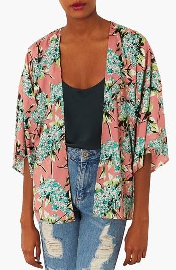 Topshop Floral Print Kimono Jacket