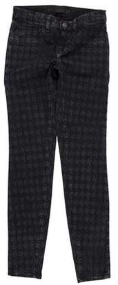 J Brand Houndstooth Print Mid-Rise Jeans