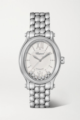 Chopard Happy Sport Oval Automatic 29mm Stainless Steel And Diamond Watch - Silver