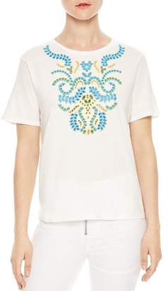 Sandro Andy Embroidered Eyelet Tee