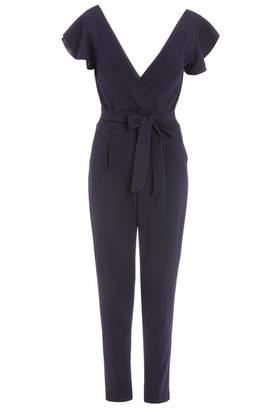 Quiz Navy Crepe Wrap Front Tie Belt Jumpsuit
