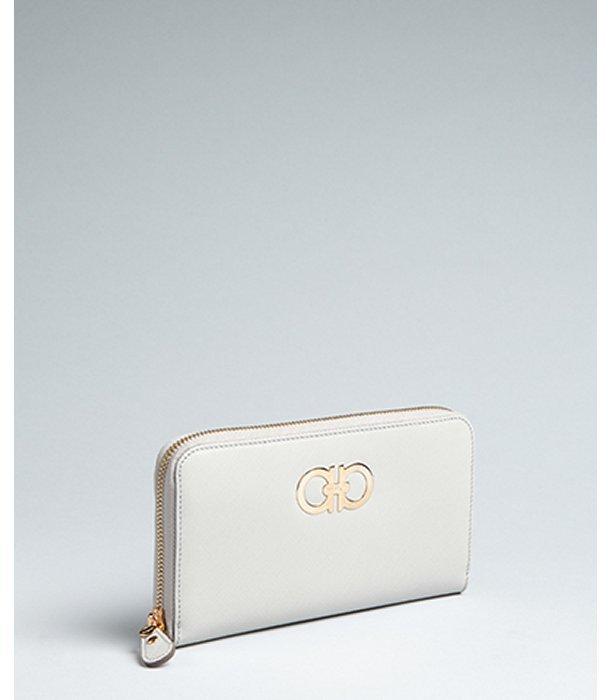 Salvatore Ferragamo light grey crosshatched leather gancini zip continental wallet