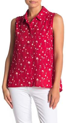 Pleione Floral Scallop Collar Sleeveless Blouse (Petite)