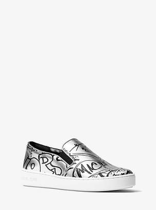 Michael Kors Keaton Metallic Graffiti Leather Slip-On Sneaker