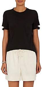 Helmut Lang Women's Slashed-Sleeve Cotton Jersey T-Shirt - Blk