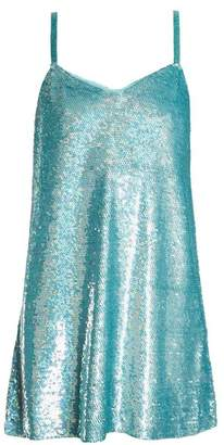 Ashish Sequin Embellished Silk Georgette Mini Dress - Womens - Light Blue