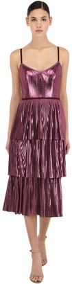 Marchesa Pleated Lame Midi Dress