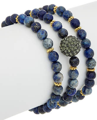 Rachel Reinhardt Set Of 3 Blue Lapis & Crystal Bracelets