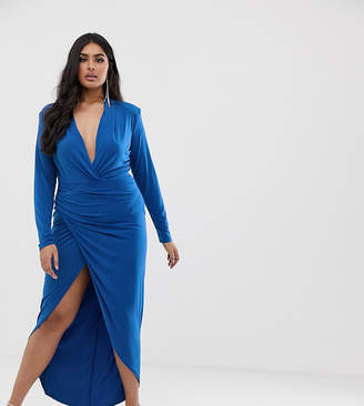 John Zack Plus wrap front maxi dress in cobalt