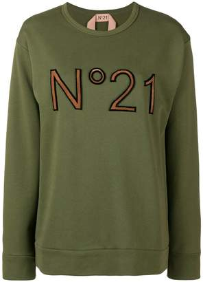 No.21 front printed sweatshirt