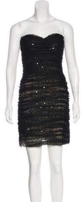 Oscar de la Renta Ruched Embellished Dress Black Ruched Embellished Dress