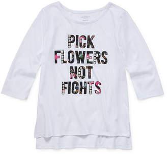 Arizona Girls Crew Neck Long Sleeve Glitter Graphic T-Shirt-Preschool