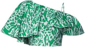 Vika Gazinskaya leopard print one-shoulder crop top