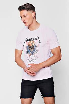 boohoo Metallica Tie Dye Print T-Shirt