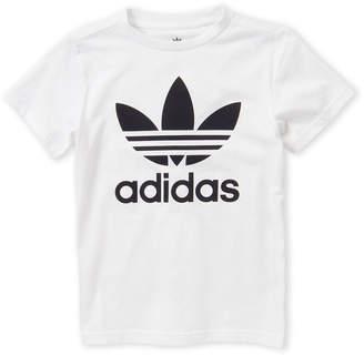 adidas Boys 8-20) White & Black Trefoil Tee