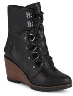 Sorel After Hours Pebbled Leather Stacked Wedge Ankle Boots
