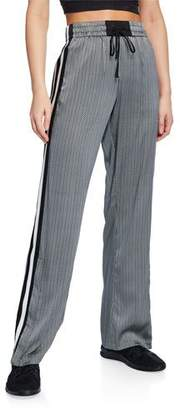 Blanc Noir Sportif Printed Silk Track Pants