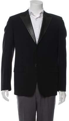 Louis Vuitton Leather-Trimmed Wool Blazer black Leather-Trimmed Wool Blazer