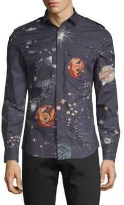 Valentino Galaxy Cotton Button-Down Shirt