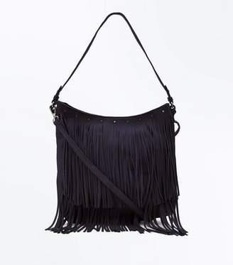 At New Look Black Fringe Hobo Bag