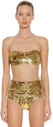 Roberto Cavalli Sequins Lycra Bikini Top