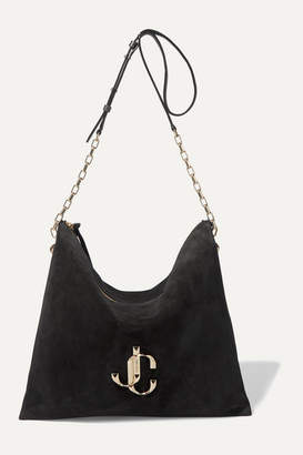 Jimmy Choo Varenne Leather-trimmed Suede Shoulder Bag - Black