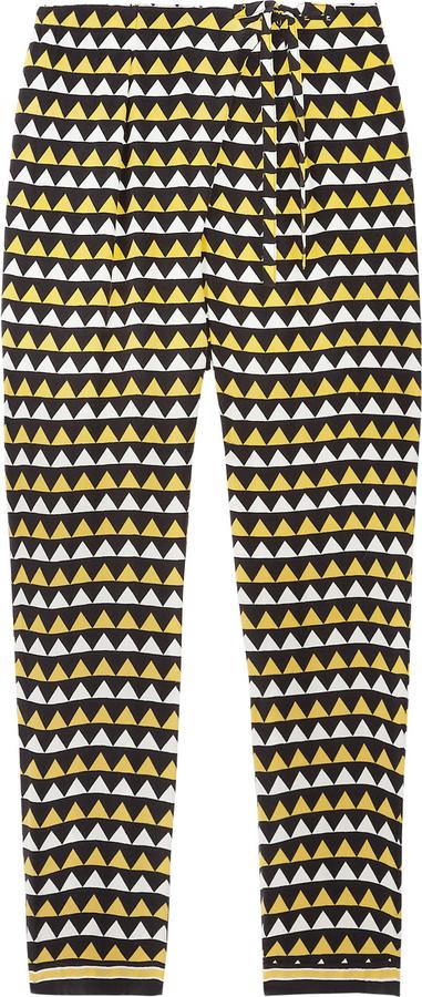 Easton Pearson Syriam flag-print cropped silk-crepe pants