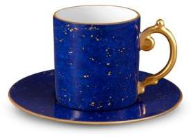 L'Objet Lapis-Look Limoges Porcelain & 24K Gold Espresso Cup & Saucer