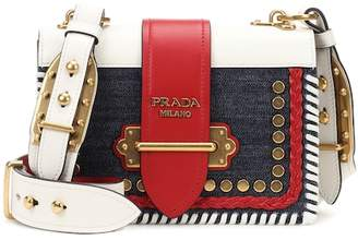 Prada Cahier denim and leather shoulder bag