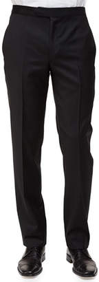 Ermenegildo Zegna Satin-Taped Formal Wool Trousers, Black $790 thestylecure.com