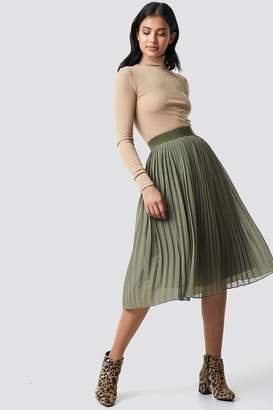 NA-KD Na Kd Pleated Midi Skirt Dark Mustard