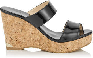 Jimmy Choo PARKER 100 Black Patent Cork Wedges