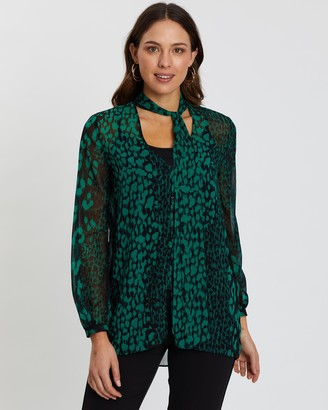 Wallis Animal Tie-Neck Top