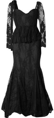 Brock Collection Diedre Ruffle-trimmed Embroidered Tulle And Lace Gown - Black