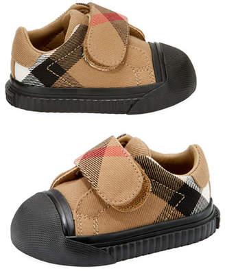 Burberry Beech Check Sneaker, Beige/Black, Infant/Toddler Sizes 3M-5T