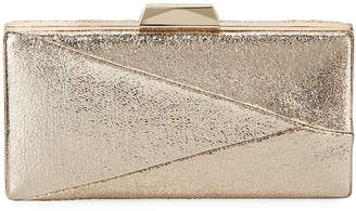 Neiman Marcus Crinkle Foil Metallic Evening Box Clutch Bag