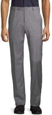 Zanella Plaid Twill Wool Trousers