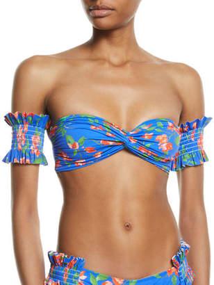 Caroline Constas Adros Shirred Floral Bandeau Bikini Top