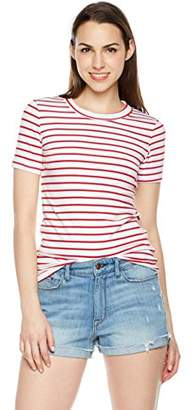 Plumberry Women's Crewneck Striped Short Sleeve Casual Slim Fit T-Shirt Tops Red/White ...