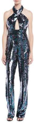 Jovani Fully Sequined Jumpsuit w/ Crisscross Front
