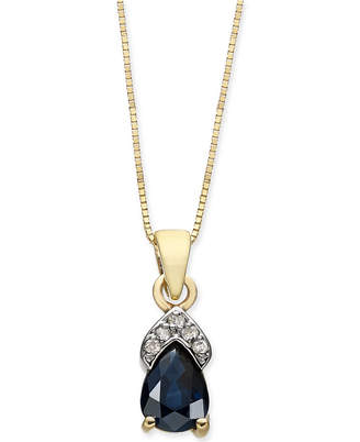 "Macy's Sapphire (7/8 ct. t.w.) & Diamond Accent 18"" Pendant Necklace in 14k Gold"