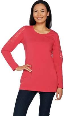Denim & Co. Lace Cold Shoulder Long Sleeve Scoop Neck Tunic