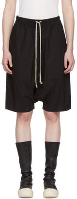 Rick Owens Black Pod Knee-Length Shorts