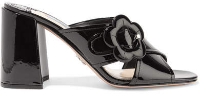pradaPrada - Buckled Patent-leather Mules - Black