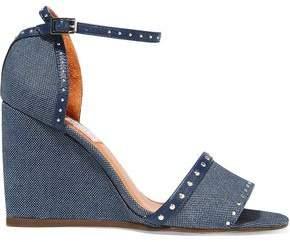 Lanvin Studded Leather-Trimmed Denim Wedge Sandals