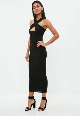 Missguided Black Ribbed Cross Front Ankle Grazer Dress